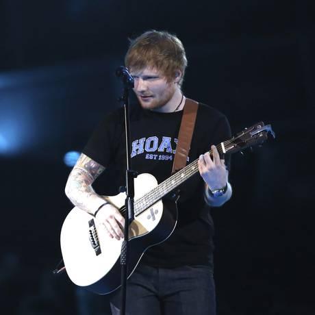 Ed Sheeran, sem apresentação no Brit Awards 2017, em Londres, em 22 de fevereiro Foto: Joel Ryan / Invision/AP