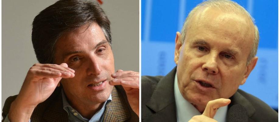 O ex-presidente da Odebrecht Ambiental Fernando Reis e o ex-ministro Guido Mantega Foto: Montagem sobre fotos