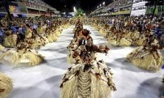 Desfile das Campeãs:sexta colocada, Beija-Flor de Nilópolis, foi a primeira escola a entrar na Sapucaí Foto: Fabio Rossi / Agência O Globo