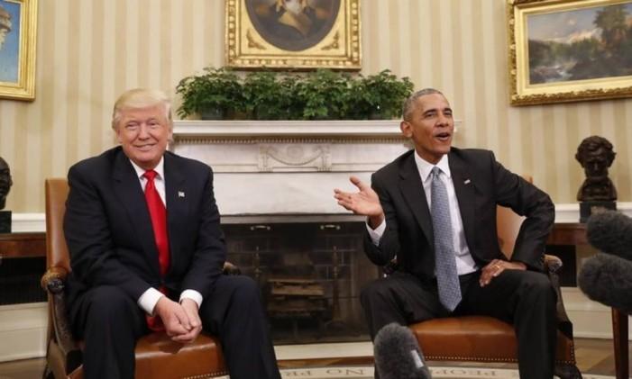 Trump e Obama se reúnem pela primeira vez na Casa Branca Foto: AP
