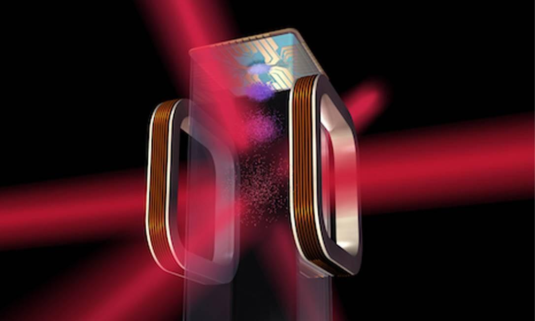 """Ilustração mostra a 'armadilha"""" ótico-magnética instalada no experimento com a qual os cientistas pretendem estudar mais a fundo o comportamento quântico da matéria Foto: Nasa/JPL-Caltech"""