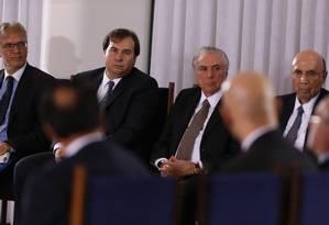 Presidente Michel Temer se reúne com cúpula do Congresso para debater reforma da Previdêcia Foto: Ailton Freitas / Ailton Freitas