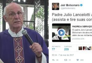 Padre criticou Bolsonaro na missa de domingo, e parlamentar reagiu nas redes sociais Foto: Reprodução/Facebook/Twitter