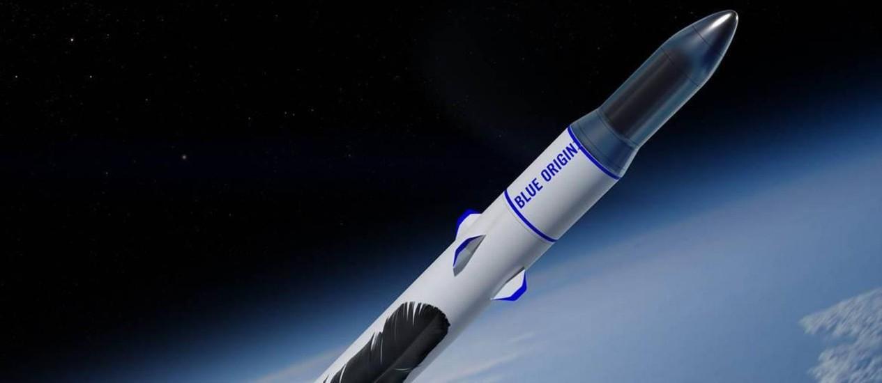 Ilustração mostra o foguete New Glenn, em desenvolvimento pela empresa espacial americana Blue Origin, entrando na órbita da Terra Foto: Divulgação/Blue Origin