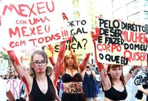 Manifestação na Avenida Paulista, em São Paulo, a favor da legalização do aborto Foto: Fernando Donasci