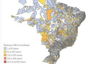Mapa mostra casos de violência doméstica no Brasil Foto: Reprodução