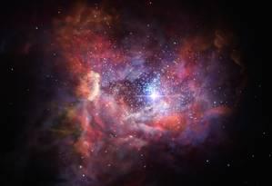 Ilustração mostra como a distante galáxia A2744_YD4 pode se parecer: observações detectaram poeira estelar com elementos resultantes da explosão do que provavelmente foram algumas das primeiras estrelas a brilharem no Universo Foto: ESO/M. Kornmesser