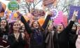 Mulheres protestam em Ancara, na Turquia