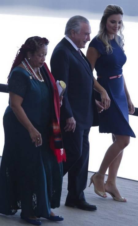 A ministra dos Direitos Humanos, Luislinda Valois, o presidente Michel Temer, sua esposa, Marcela Foto: Ailton Freitas / Agência O Globo