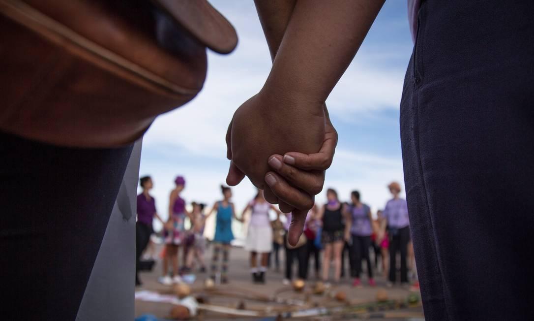 A concentração do protesto começou por volta das 14h Foto: ANDRE COELHO / Agência O Globo