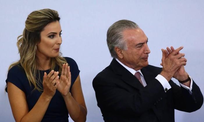 O presidente Michel Temer participa da cerimônia do Dia Internacional da Mulher, ao lado da primeira-dama Marcela Temer Foto: Jorge William / Agência O Globo