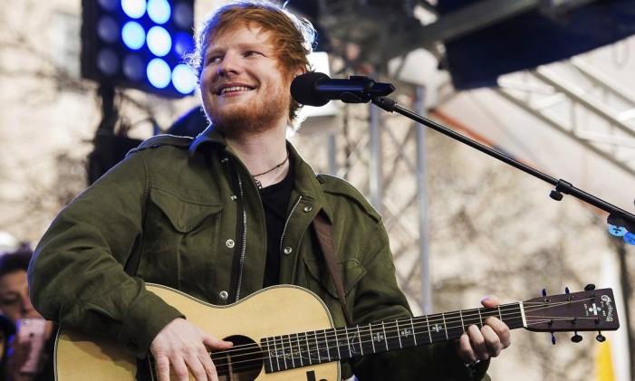 Ed Sheeran durante show em Nova York Foto: Charles Sykes/Invision/AP
