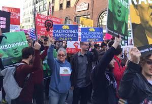 Movimento separatista da Califórnia tem aparecido em manifestações contra Trump Foto: Divulgação/CNP