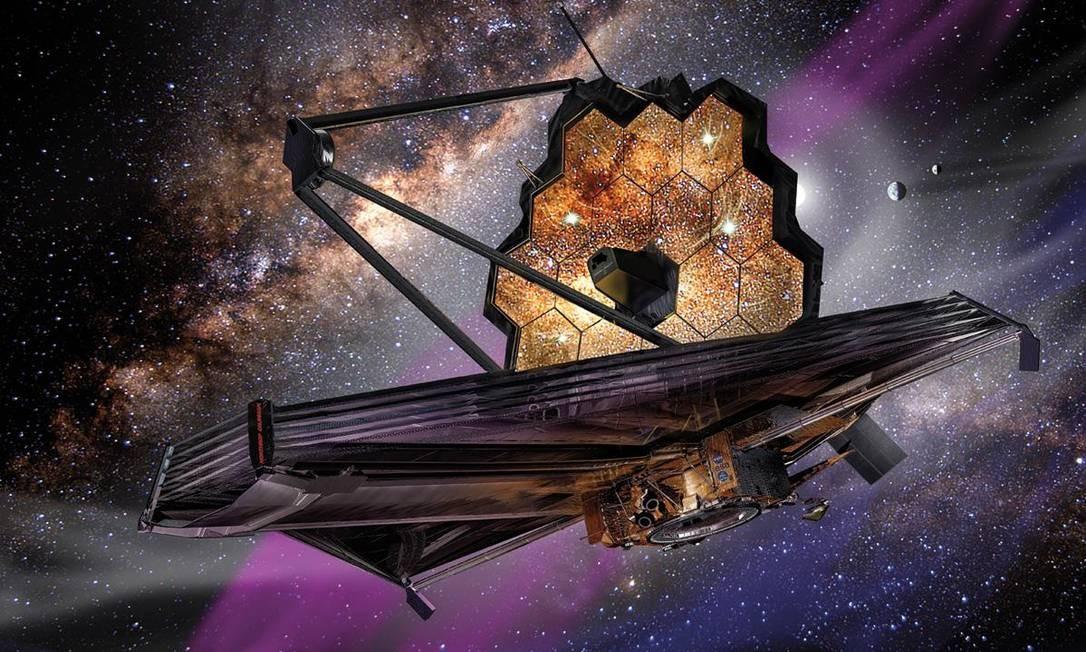Ilustração mostra o telescópio espacial James Webb em operação: equipamento vai ver mais longe e melhor que o Hubble Foto: Nasa