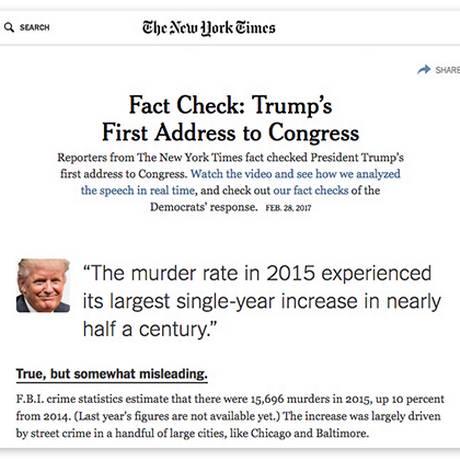 O jornal The New York Times checou o discurso de Trump feito no Congresso e encontrou inconsistências Foto: Reprodução