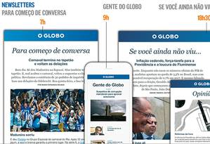 Modelos das novas newsletters do GLOBO Foto: Editoria de Arte