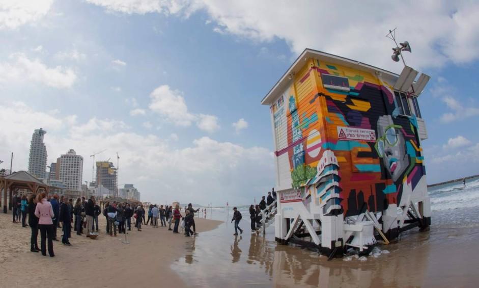 Vista da torre que foi transformada em suíte de hotel em Tel Aviv, em Israel Foto: JACK GUEZ / AFP