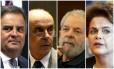 Aécio Neves, José Serra, Luiz Inácio Lula da Silva e Dilma Rousseff: citados na lista de Janot