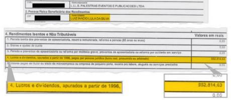 Informe de rendimentos de Lula protocolado pela defesa do ex-presidente na Justiça Federal do Distrito Federal Foto: Reprodução
