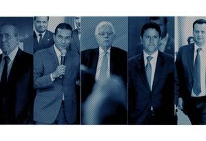 Ministros de Temer alvos da lista de Janot: Eliseu Padilha, Marcos Pereira, Moreira Franco, Bruno Araújo e Gilberto Kassab (da esq. p/ a dir.) Foto: Montagem sobre fotos de arquivo