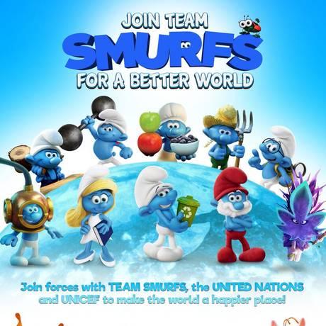 Smurfs representaram objetivos da ONU por desenvolvimento sustentável Foto: Divulgação