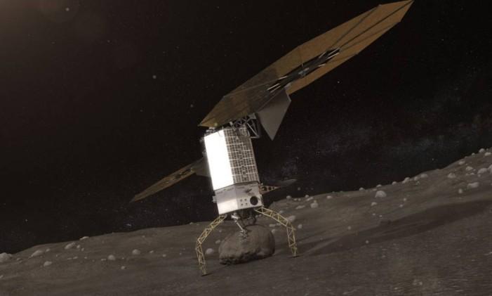 Uma espaçonave pousaria num asteroide para coletar uma amostra de rocha Foto: NASA