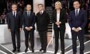 Francois Fillon, Emmanuel Macron, Jean-Luc Melenchon, Marine Le Pen e Benoît Hamon: embate na TV Foto: Patrick Kovarik / AP