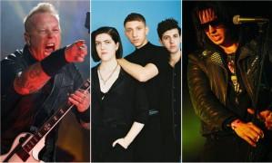 James Hetfield, do Metallica; o trio The xx e Julian Casablancas, vocalista dos Strokes Foto: AP e Divulgação / AP e Divulgação