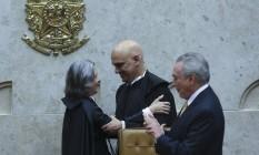 A ministra Cármen Lúcia e o presidente Michel Temer participam da cerimônia Foto: Ailton de Freitas / Agência O Globo
