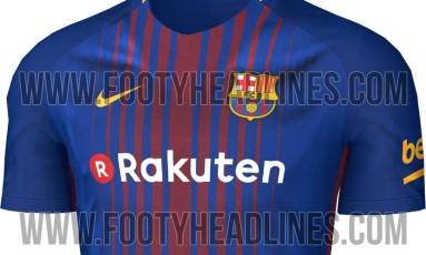 Possível modelo de uniforme do Barcelona na temporada 2017/2018 vazou na internet Foto: Reprodução/Footy Headlines