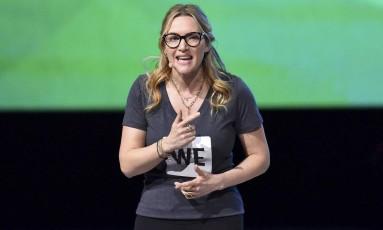 Kate Winslet durante palestra sobre bullying, na Inglaterra Foto: Matt Crossick / AP