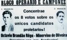 """Propaganda. Panfleto de 1928 do Bloco Operário e Camponês pede voto para """"os únicos candidatos proletários"""" Foto: Reprodução / Arquivo do PCB"""