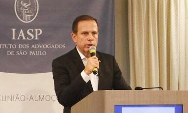 Doria participou de evento no Instituto dos Advogados de São Paulo Foto: Divulgação Prefeitura de São Paulo