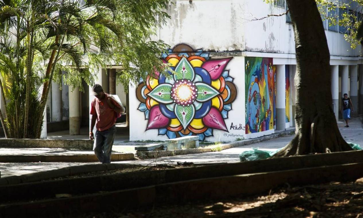 Mandala do artista plástico José Flávio Audi ajuda a humanizar o espaço, que abriga um hospital psiquiátrico Foto: Fernando Lemos / Agência O Globo