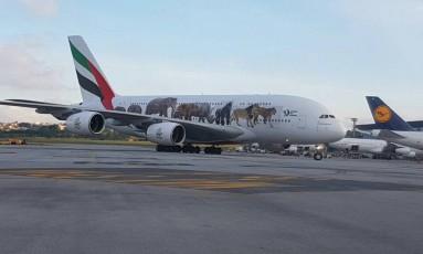 O avião, na pista do Aeroporto de Guarulhos, neste domingo Foto: Gustavo Schmitt