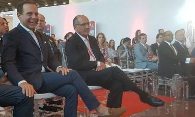 Doria e Alckmin, em evento que lançou nova rota Guarulhos-Dubai Foto: Gustavo Schimitt