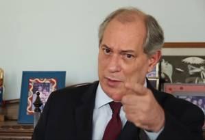 Ex-ministro Ciro Gomes desafia Sérgio Moro em vídeo Foto: Reprodução