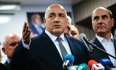 O ex-premier Boyko Borisov e líder do Gerb, que venceu as eleições Foto: DIMITAR DILKOFF / AFP