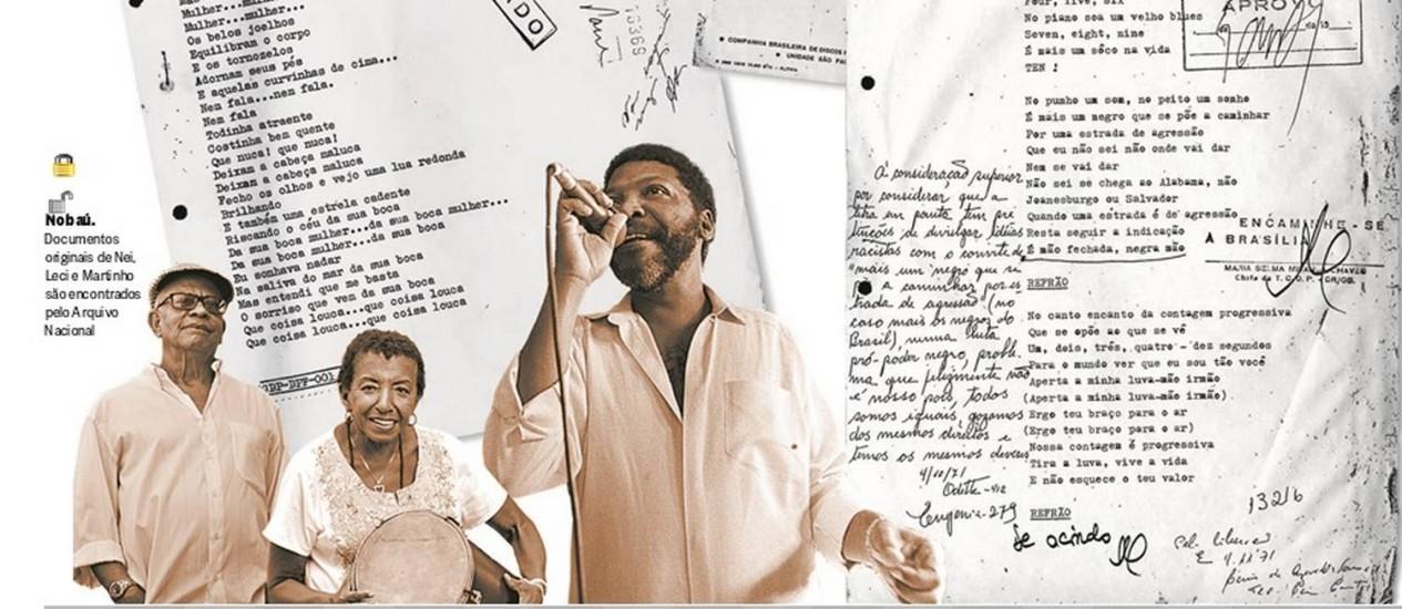 Nei Lopes, Leci Brandão e Martinho da Vila Foto: Arte sobre fotos de arquivo