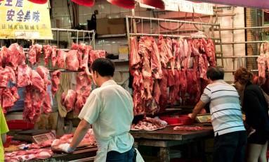 Venda de carnes em Hong Kong. Foto: Jayne Russell