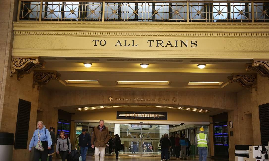 A Union Station, estação de trem de Chicago, ponto de partida, ou chegada, da linha Zephyr Foto: JOE RAEDLE / AFP