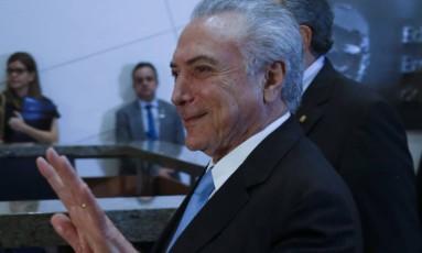 Temer sobre julgamento da chapa no TSE: 'Marcou já? ótimo' Foto: Ailton Freitas / Agência O Globo