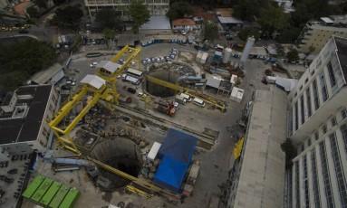Vista aérea da obra da estação da Gávea do Metrô Foto: Daniel Marenco em 23/08/2016 / Agência O Globo