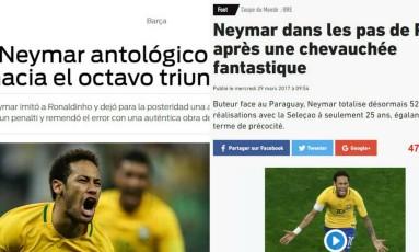 Performance da seleção brasileira foi destaque na imprensa internacional após a vitória sobre o Paraguai Foto: Reprodução
