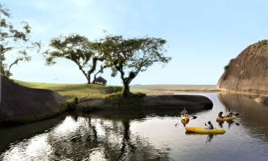 Caiaques: uma das atividades incluídas no 'day use' do Club Med, em Mangaratiba Foto: Divulgação