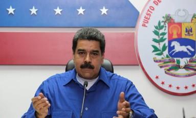 O presidente da Venezuela, Nicolás Maduro, fala durante um encontro com ministros em Caracas Foto: HANDOUT / REUTERS