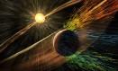 Ilustração mostra o Sol destruindo a atmosfera de marte Foto: NASA / NASA