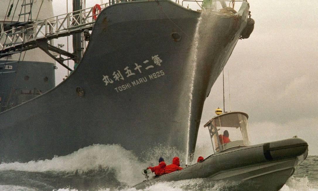 Em foto de 1999, ativistas do Greenpeace tentam impedir caça de baleias no Oceano Antártico Foto: Greenpeace / Reuters