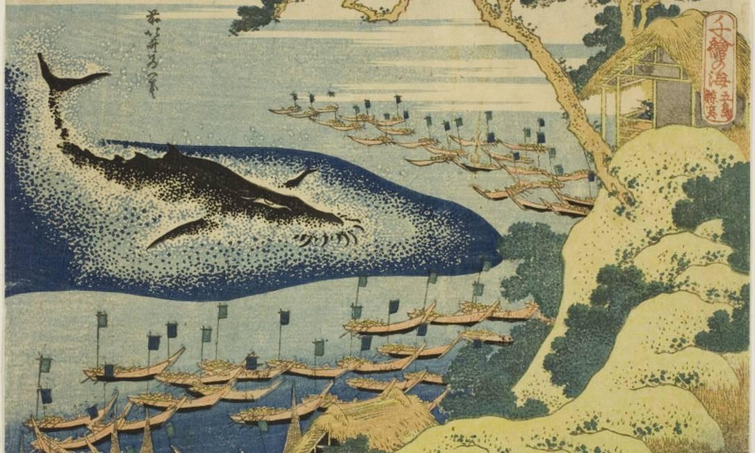Pintura de 1833, de Katsushika Hokusai, retrata caça a baleias; tradição centenária é argumento no país para continuidade da atividade Foto: Reprodução
