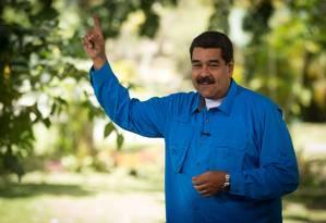 Presidente Nicolás Maduro fala durante um programa de TV em Caracas Foto: HO / AF